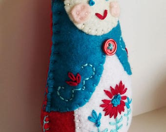 Handmade Felt Matryoshka Doll - Embroidered Bright Turquoise Blue Red - Brown Hair - Blue Eyes - Heirloom Style - Russian Baby Doll - OOAK