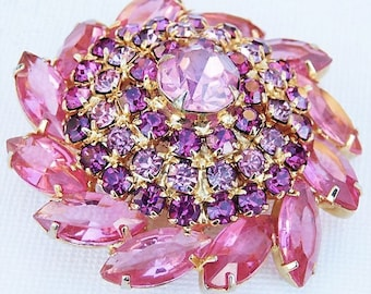Pink Rhinestone Brooch / Mid Century Fashion Jewelry
