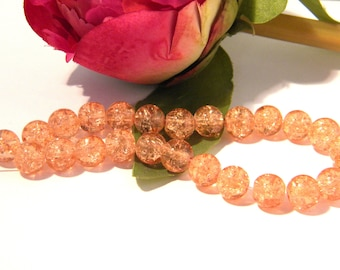50 Crackle glass beads - pale salmon - 8 mm Pearl glass - Crackle - H05