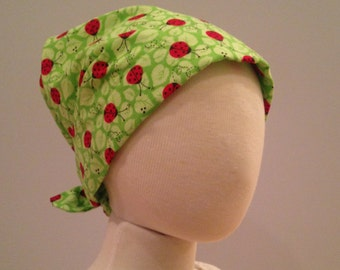 Mia Children's Head Cover, Girl's Cancer Headwear, Chemo Scarf, Alopecia Hat, Head Wrap, Cancer Gift for Hair Loss - Ladybugs