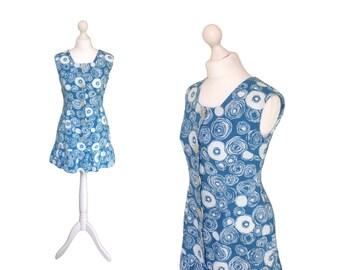 1960's Beach Dress | Vintage 60's Mini Dress | Blue And White Swirls Dress