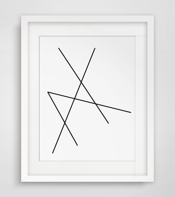 Geometric art minimalist black and white abstract print for Minimal art black and white