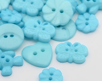 Cyan/Teal Button Mix  - Mixed Shapes and Sizes - #BUTTON394