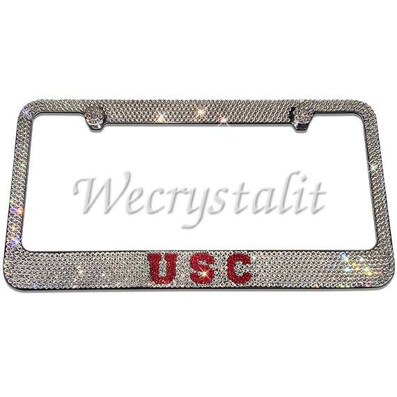 USC Crystal Sparkle Auto Bling Rhinestone License Plate Frame