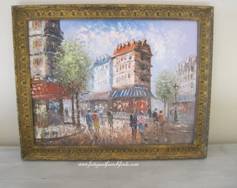 Oil on Canvas Painting of Parisian Street Scene Signed Burnett In Wood Frame