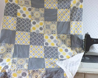 Yellow Gray Quilt Etsy