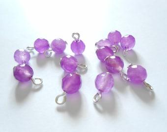 Purple Alexandrite Faceted Round Gemstone Dangle Beads