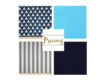 Navy, Turquoise and Grey Crib Bedding - Custom 3 piece Crib Bedding - Choose your fabrics