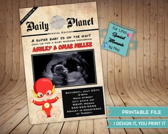 Flash Daily Plant News Paper Style Super Hero Baby Shower Invitations - It's a Boy Super Hero Baby Shower Invitation - Flash