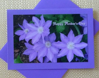 Mother's Day greeting card, 5x7, Purple Clematis, Fine Art