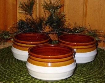 Set of 3 White Crocks / Soup Crocks / White Crocks / Stoneware Crocks
