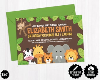Editable Safari Baby Shower Invitation Template - Printable Jungle Theme Invite - Cute Gender Neutral Baby Shower Cards - Digital Download