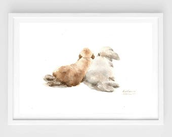 """Original watercolor""""be together"""" N.2,lovely bunny painting,bunny lover,original painting,7""""x10"""",home decor"""