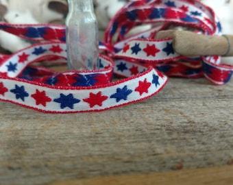 "Vintage Woven Patriotic Sewing Trim Ribbon - Mid Century NOS Sewing Ribbon, Retro Ribbon Trimming, Home Decor Ribbon, Milliners Ribbon, 76"""