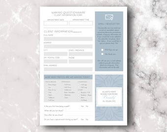Waxing: Client Information Forms, Aftercare Instruction Card, Appointment Tracker, Blue Palette