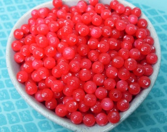 10 Red cat eye beads - 8mm
