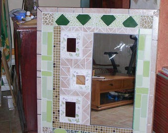 PHOTO-mosaic of tile - earthenware - stained glass - mirror - picture frame