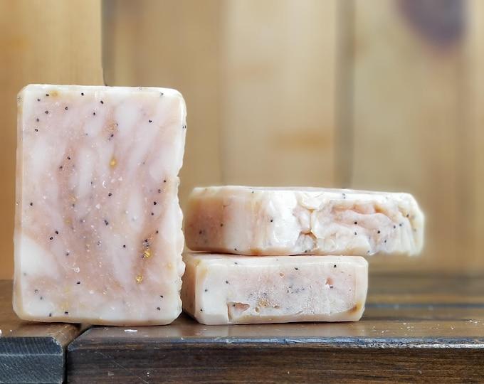 Lemon Poppyseed Soap -- All Natural Soap, Handmade Soap, Barely Scented Soap, Hot Process Soap, Vegan Soap