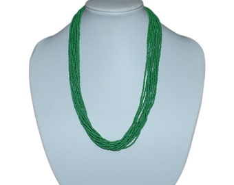 Green Multi-Strand Seed Beads Necklace,Nepal, N101   Glass necklace   Green necklace   handmade necklace