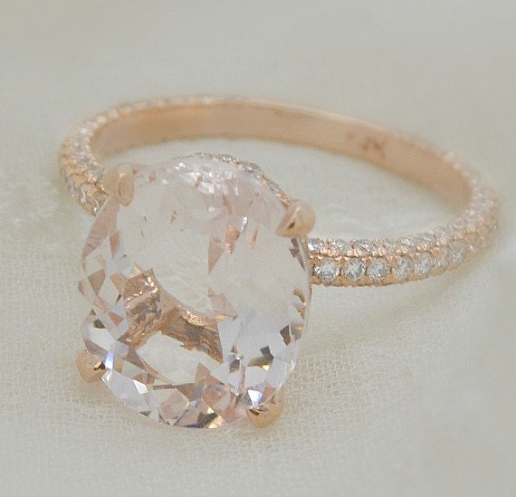4 60 Ct Brilliant Oval Cut Morganite Solitaire Engagement
