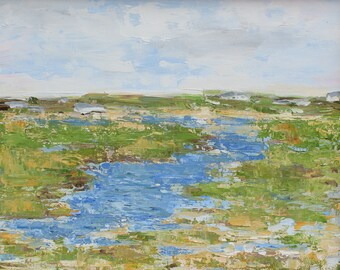 Salt Marsh, Nantucket- Palette Knife Oil Painting
