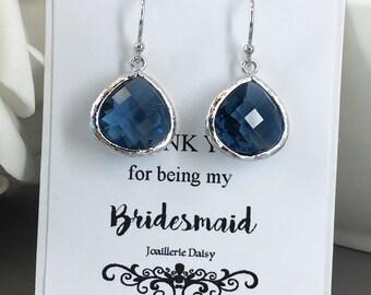 Navy Earrings Dangle Earrings Drop Earrings Navy Jewelry Gift under 20 Bridal Maid of Honor Mother of Groom Mother of Bride