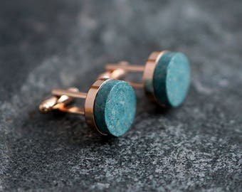 Teal Paper Cufflinks, 1st Anniversary Gift