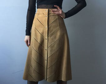 70s suede leather skirt | camel a-line skirt with cut-out detail | high waist midi skirt with buttons
