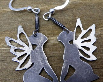 Solid Sterling silver fairy earrings, silver 925 faery design earrings with silver hook and ball ear wires, hand-cut silver fairy earrings