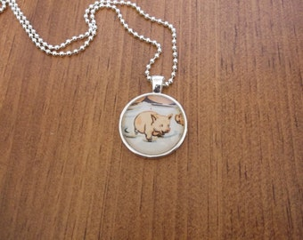 Unique pendant/Happy Pig/Vintage book illustration/Fun gift/1 inch circle/24 inch chain included/Glass dome