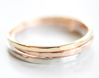 2 Signature Stacking Rings - Gold, Silver or Rose Gold - Skinny Ring - Thin Textured Ring - Handmade Hammered Ring - Simple - Gold Filled