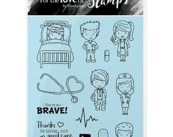 Hunkydory Clear Stamps DOCTORS AND NURSES A6 Stamp Set Card Making Scrapbooking Papercraft Get Well Soon Craft Gift for Her Him
