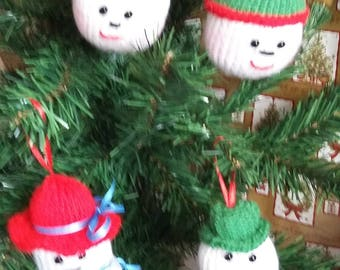Snow ball faces,  mr & mrs snow christmas  tree decorations