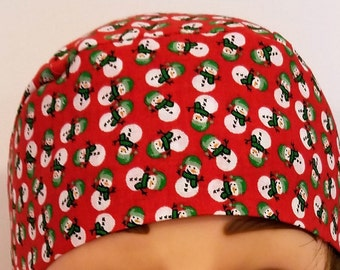 Red w Snowmen Skull Cap or Chemo Cap, Hat, Hair Loss, Bald, Alopecia, Head Wrap, Helmet Liner, Surgical Cap, Motorcycle, Handmade, Christmas