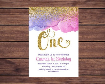Pink Purple and Gold 1st Birthday Invitation Girl, Any Age Pink and Purple Girl First Birthday Invitation, Gold Confetti  106 Printable