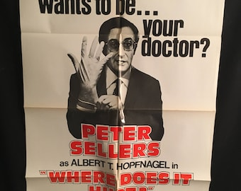Original 1978 Where Does It Hurt One Sheet Movie Poster, Peter Sellers, Doctor
