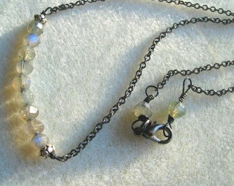 Labradorite Necklace,  Gray Blue Faceted stones,  Semi-Precious,  Pure and Simple on Chain, Minimalist Jewelry