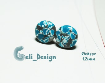 Earrings cabochon blue white marbled