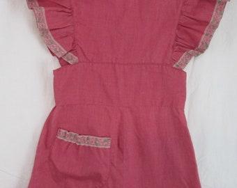 Girls Smock Apron Dress Rose Pink Handsewn Lace Trim Pocket 1960s (#2)