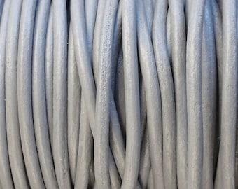 2 Yard Increments 2mm Grey Genuine Leather Cord