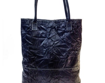 Sale!!! Distressed Leather tote bag - Black Leather Bag for women, Leather Shoulder Bag