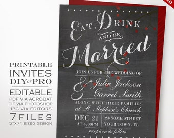 Wedding Invitation Template - Chalkboard Wedding Invitation - Printable DIY Berries Chalkboard Wedding Invitation Editable Wedding Invite