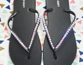 Black Flip Flops With Iridescent Crystals