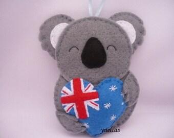 Koala Bear Ornament Christmas Ornament  Koala Bear Felt Christmas Ornament Australia Heart Australian  Flag Australia