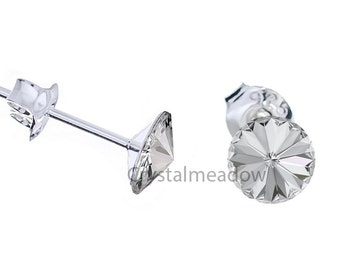 Sterling Silver Stud Earrings Rivoli 8mm Crystal Clear made with Genuine Swarovski Elements