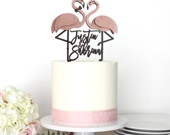 Personalized Flamingo Flamingle Beach Wedding Cake Topper | Custom Names