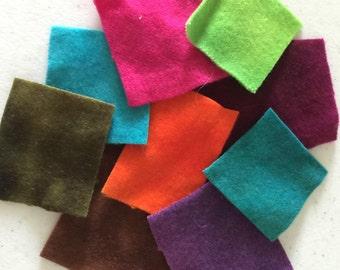 Wool Felt Scraps, Felted Wool Scraps, Wool Fabric, hand dyed wool