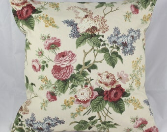 Pillow Cover Waverly Floral Emma's Garden Jewel Fabric New  16x16