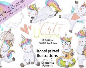 Unicorns PNG, JPG for use on t-shirts, mugs, cards