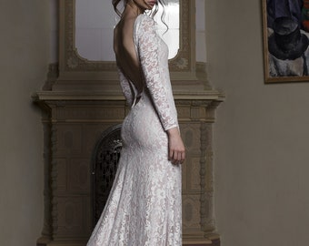 Lace Mermaid wedding dress gown, fishtail wedding dress, backless wedding dress, long sleeve lace wedding dress, low back dress 0157
